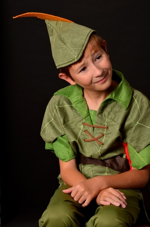 peter: Portrait of a Young boy dressed up in peter pan costume
