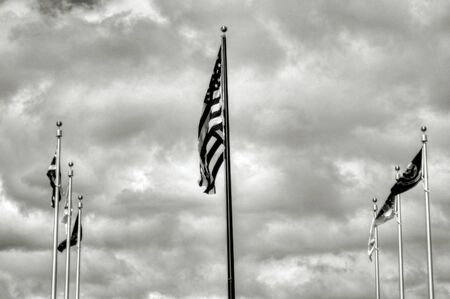 pearl harbor: American and allied flags and entrance to Pearl Harbor Stock Photo