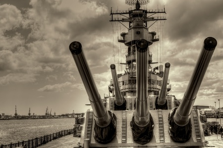 battleship: USS Missouri - decommissioned battleship USA in Pearl Harbor Hawaii