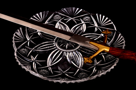 Medieval Sword isolated over a black background  Stok Fotoğraf