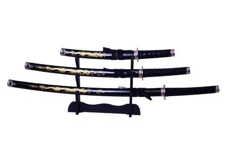wakizashi: Samurai swords, Katana, Wakizashi and Tanto, isolated on white  Stock Photo