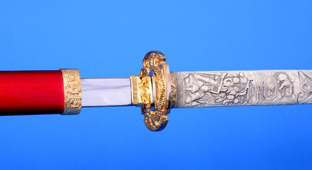 wakizashi: Samurai sword, Katana, Wakizashi and Tanto, isolated on blue background
