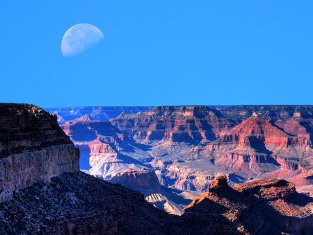 Large moon afternoon in the Grand Canyon