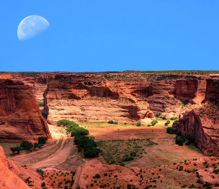 indian artifacts: Moonrise Canyon de Chelly Navajo indian reservation northern Arizona