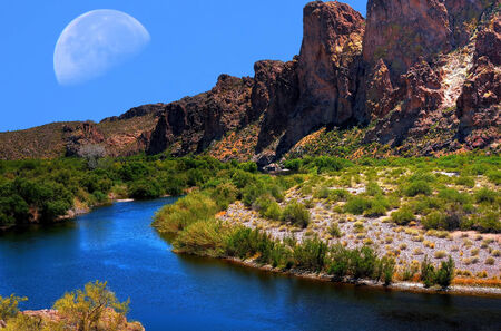 Salt River with large moon in background Stock Photo