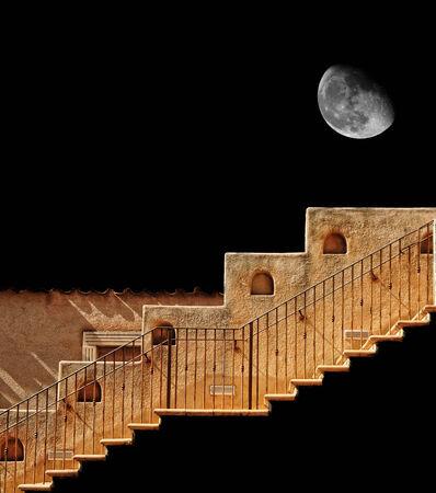 Trap naar de maan geïsoleerd over zwart Stockfoto