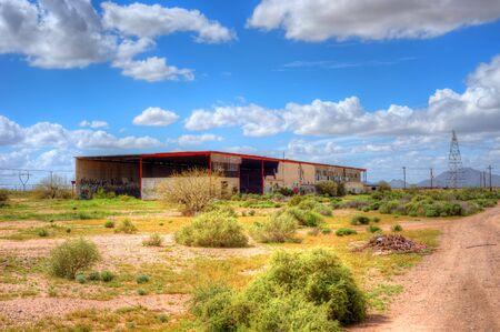 abandoned warehouse: Old abandoned block warehouse in Southwest Arizona Stock Photo