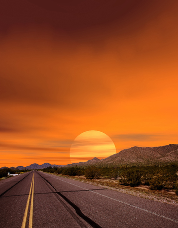 sonora: Sunset road Sonora desert and mountains Arizona