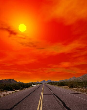 sonora: Sunset Sonora desert road in central Arizona USA Stock Photo
