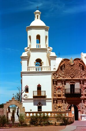 missionary: Spanish mission San Xavier del Bac started in 1692 by Spanish missionaries in the Americas Stock Photo