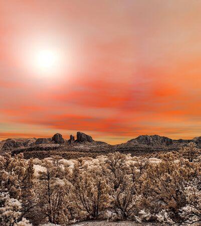 sedona: Sunrise at Red Rock country mountains surrounding Sedona Arizona