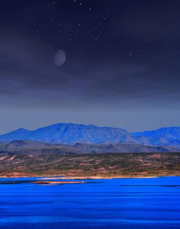 roosevelt: Moonrise and stars over Roosevelt lake Arizona