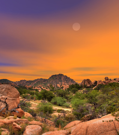 Sunset skies in Texas Canyon in Southeast Arizona