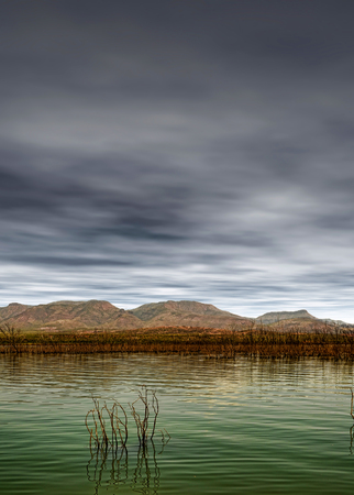 roosevelt: Roosevelt Lake Arizona with dark clouds and storm approaching