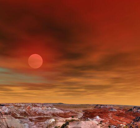 petrified fossil: Sunrise scenic landscape of ancient petrified forest in Arizona Stock Photo