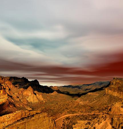 sonora: Sunset Sonora desert mountains in central Arizona USA