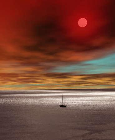 beach scene: Sunset high angle waikiki beach honolulu hawaii