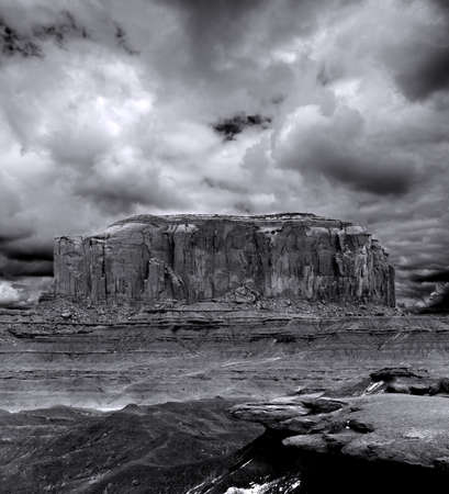 apparent: On Film Grain apparent Monument Valley Arizona with evening cloudy skies
