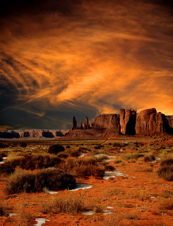 Monument Valley Arizona with evening sunset skies
