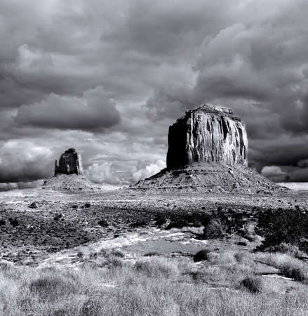 Monument Valley Arizona with evening cloudy skies Stock Photo