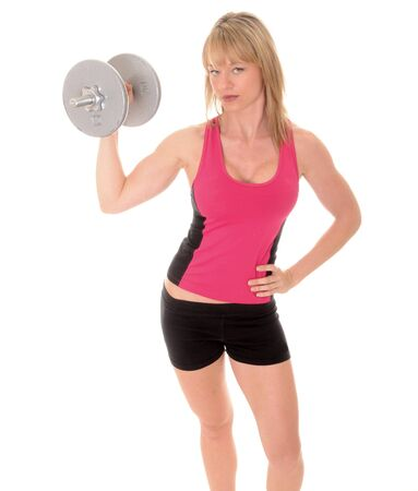 girl working out: Lovely blond girl working out with weights