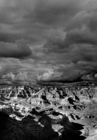rock strata: Cloudy day Late afternoon in the Grand Canyon Arizona Stock Photo
