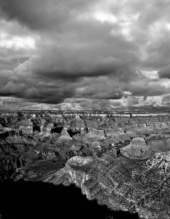 rock strata: Late afternoon in the Grand Canyon Arizona on black and white film