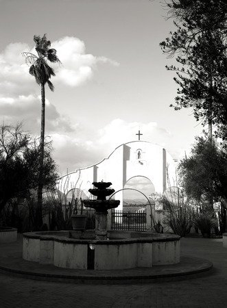 Fountain at Spanish mission San Xavier del Bac started in 1692 by Spanish missionaries in the Americas