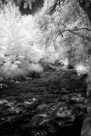 Infrared Oak Creek Sedona Arizona early morning light Stock Photo