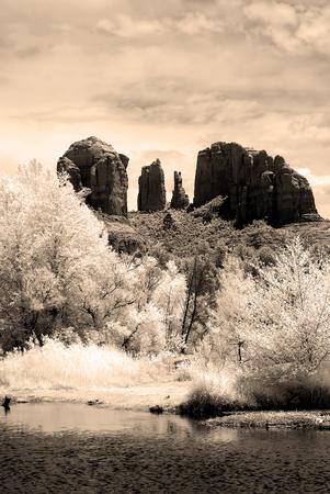 Infrared sepia toned country mountains surrounding Sedona Arizona