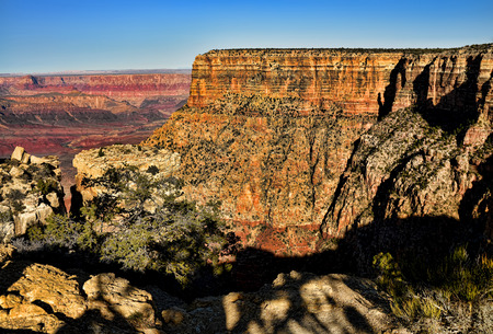Late afternoon in the Grand Canyon Arizona and blue skies