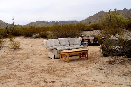 Illegal Abandoned furniture in the Sonora desert Arizona