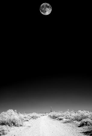Infrared Moon rising Sonora desert in central Arizona USA