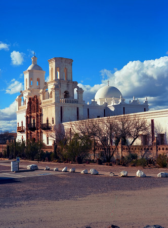 Spanish mission San Xavier del Bac started in 1692 by Spanish missionaries in the Americas Stock Photo