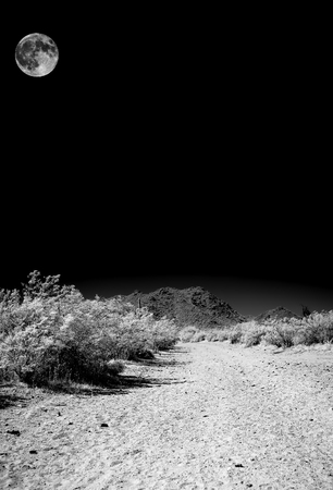Infrared monochrome desert moon over the southwestern USA Sonora desert Arizona and mountains Imagens