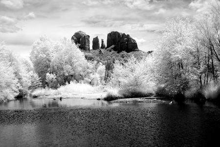 Infrared Black and white country mountains surrounding Sedona Arizona Stock Photo