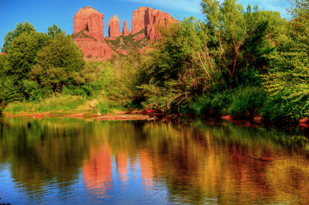 Oak creek at cathedral rock sedona arizona 写真素材
