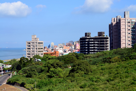 Tamsui District new Taipei city Taiwan and Tamsui River