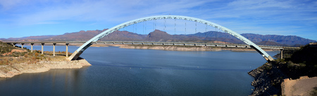 Panorama of of Roosevelt Bridge and Roosevelt lake in southeast Arizona.