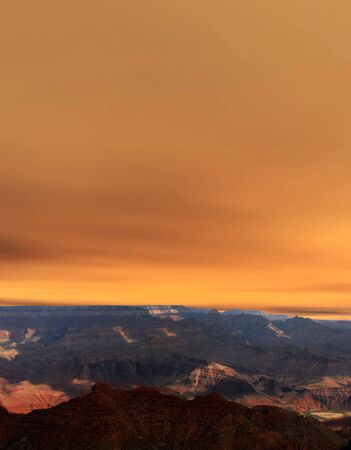 Late afternoon in the Grand Canyon Arizona with colorful sky