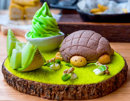 dessert and ice cream concept on wooden table.