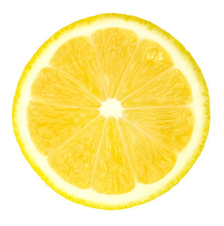 slice of lemon isolated on white background with clipping path