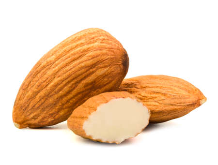 almonds isolated on white background.