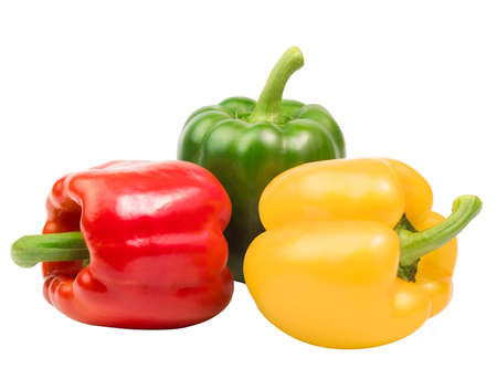 fresh sweet peppers isolated on white background.