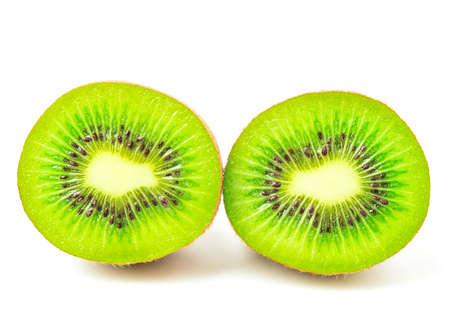 slice kivi fruits isolated on white background. Stock Photo