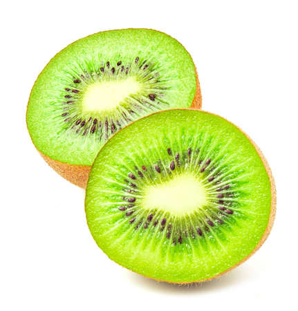 Slice kiwi fruits isolated on white background. Archivio Fotografico
