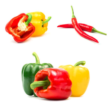 peppers and chilis isolated on a white background.