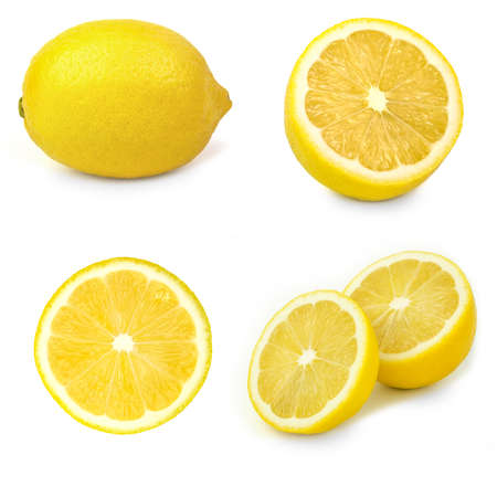 sliced of lemons isolated on white background. group of lemons.