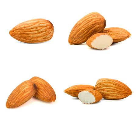 Group of almonds isolated on white background.