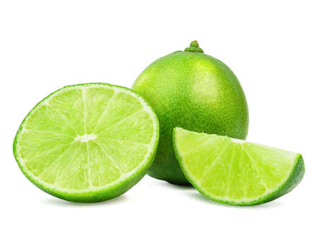 limes sliced with leaves isolated on a white background. Archivio Fotografico